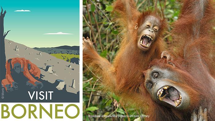 Monk's Borneo travel poster and photo of Borneo