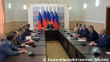 Russian President Putin chairs meeting with members of Security Council in Crimea Russian President Vladimir Putin chairs a meeting with members of the Security Council in Crimea, August 19, 2016. Sputnik/Kremlin/Alexei Nikolsky/via REUTERS ATTENTION EDITORS - THIS IMAGE WAS PROVIDED BY A THIRD PARTY. EDITORIAL USE ONLY. Reuters/Sputnik/Kremlin/A. Nikolsky