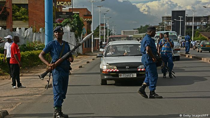 Armed guards on the streets of Bujumbura (Getty Images/AFP)
