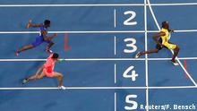 19.08.2016 *** 2016 Rio Olympics - Athletics - Final - Men's 4 x 100m Relay Final - Olympic Stadium - Rio de Janeiro, Brazil - 19/08/2016. Usain Bolt (JAM) of Jamaica crosses the finish line first to win the gold. REUTERS/Fabrizio Bensch FOR EDITORIAL USE ONLY. NOT FOR SALE FOR MARKETING OR ADVERTISING CAMPAIGNS. © Reuters/F. Bensch