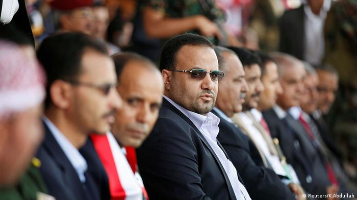 Saleh al-Sammad attends a rally held to show support to the council in the capital, Sanaa