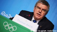 RIO DE JANEIRO, BRAZIL - AUGUST 20: IOC President Thomas Bach talks at a press conference at the Main Press Centre on August 20, 2016 in Rio de Janeiro, Brazil. (Photo by Ker Robertson/Getty Images) Copyright: Getty Images/K. Robertson