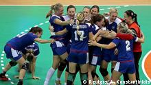 2016 Rio Olympics - Handball - Final - Women's Gold Medal Game France v Russia - Future Arena - Rio de Janeiro, Brazil - 20/08/2016. Vladlena Bobrovnikova (RUS) of Russia and her teammates celebrate victory. REUTERS/Alkis Konstantinidis FOR EDITORIAL USE ONLY. NOT FOR SALE FOR MARKETING OR ADVERTISING CAMPAIGNS. (c) Reuters/ A. Konstantinidis
