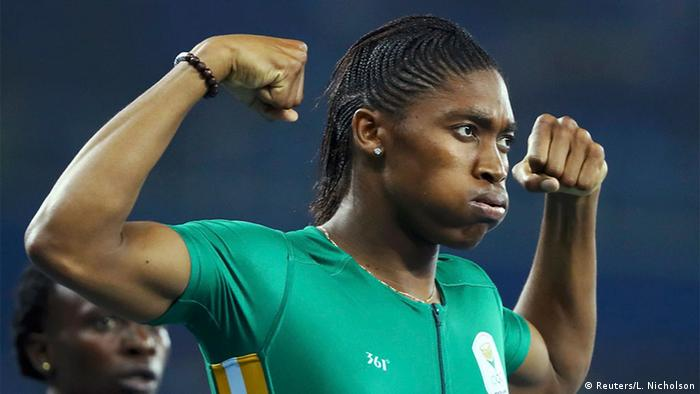 Caster Semenya (RSA) of South Africa celebrates winning the gold