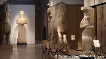 Assyrian statues on show at the Iraq Museum in Baghdad
