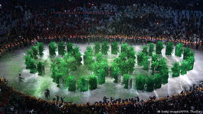 Brazil - Olympic palms form the rings at the opening ceremony.