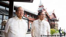 Luis Jalandoni and Philippines' presidential peace adviser Jesus Dureza are seen during peace talks between the Philippine government and National Democratic Front of the Philippines (NDFP) in Oslo, Norway August 22, 2016.