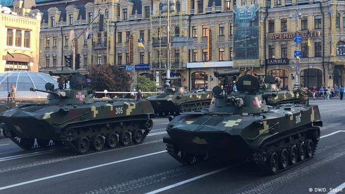 Tanks on a square in Kyiv in preparation for Independence Day