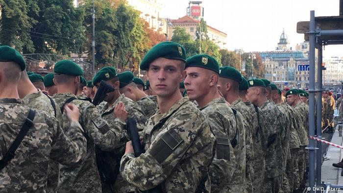Ukrainians soldiers rehearse for an Independence Day parade in Kyiv
