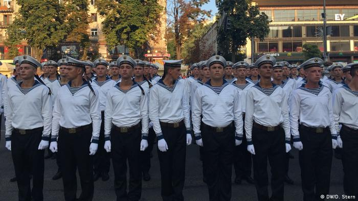 Sailors in formation in preparation for Independence Day in Kyiv