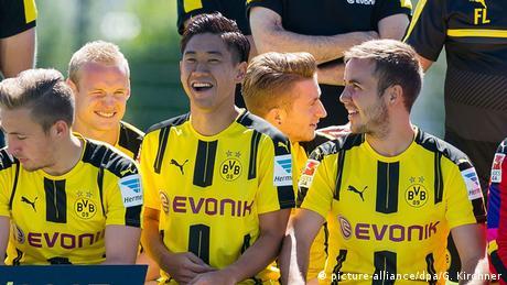 Ausrüster der Bundesliga 16/17 Borussia Dortmunds Rode, Kagawa, Reus und Götze