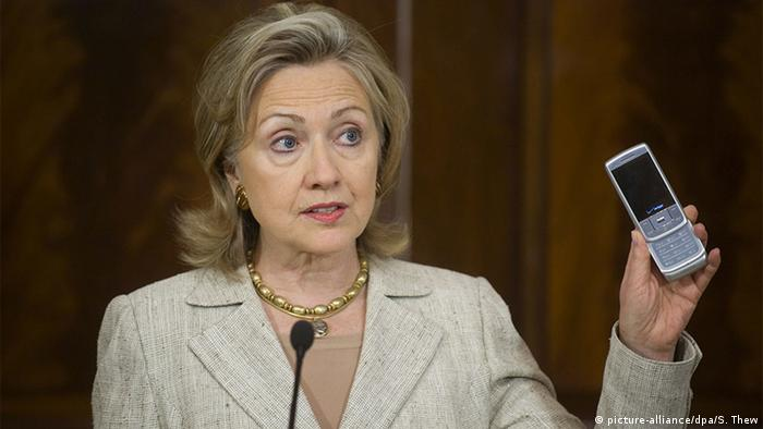 The then US Secretary of State Hillary Clinton in 2010.