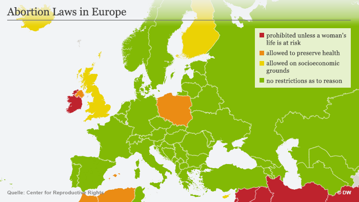 Infografik Abortion Laws in Europe Englisch
