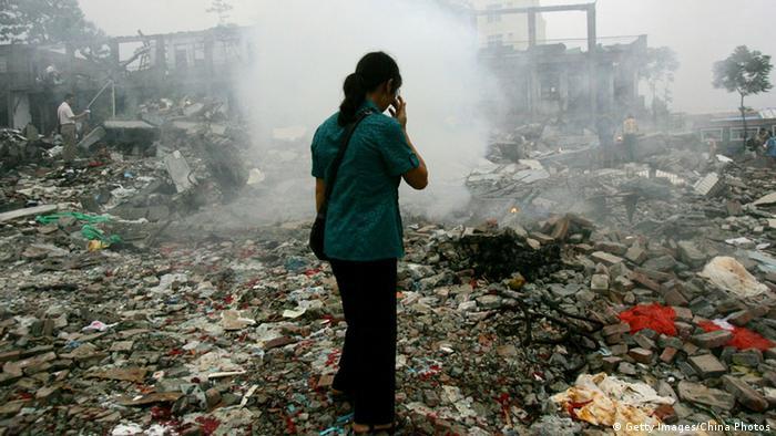 China Zerstörte Schule in Sichuan