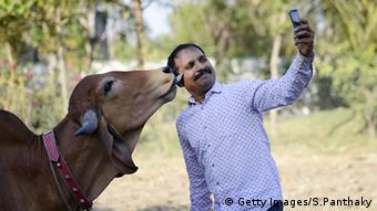 Indien Kühe Kuh Mann macht Selfie mit einer Kuh (Getty Images/S.Panthaky)