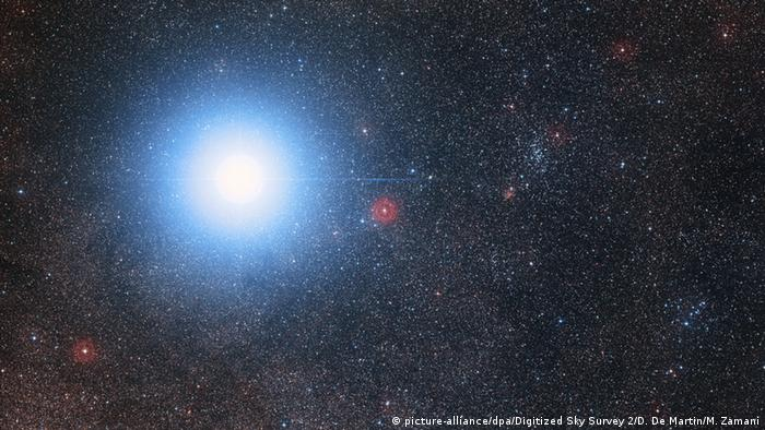 The bright star Alpha Centauri AB and the much fainter red dwarf star, Proxima Centauri, the closest star to the Solar System