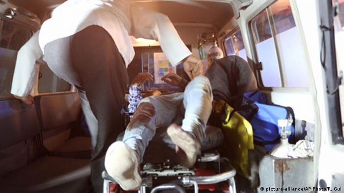 Injured stretchered to hospital