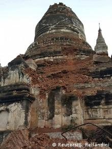 A damaged pagoda after an earthquake in Bagan, Myanmar.