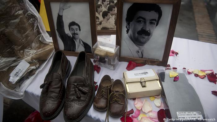 Pictures and belongings of killed and missing members of the Patriotic Union political party at Bolivar Square in Bogota, Colombia, on October 18, 2012, during a tribute to the victims of Colombia's armed conflict.