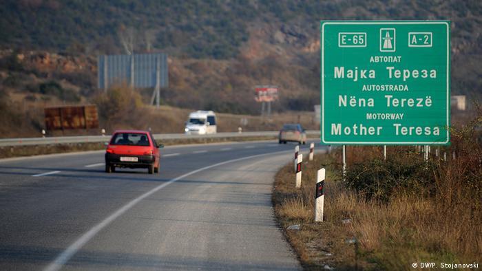 Mazedonien Mutter Teresa-Highway in Skopje