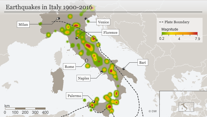 infographic: Italy earthquakes since 1990