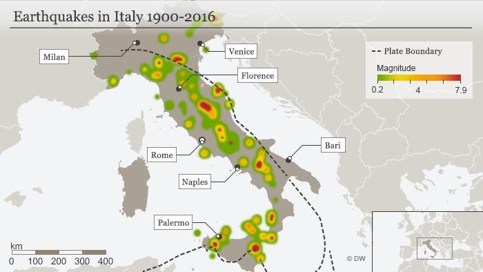 Infografik Karte Erdbebengebiete in Italien Englisch