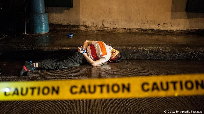 A dead victim of the violent drug crackdown in Manila, Philippines