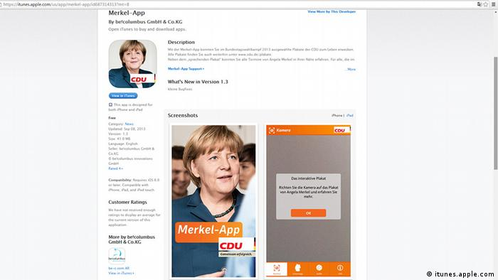 Screenshot iTunes Merkel-App
