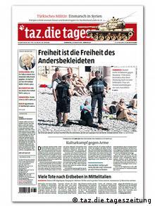 Taz Cover zu Burkini-Verbot in Frankreich (Foto: taz.die tageszeitung)