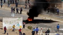 25.08.2016+++ Independent miners block a main highway during a protest against Bolivia's President Evo Morales' government policies, in Panduro south of La Paz, Bolivia, August 25, 2016. +++ (C) Reuters/David Mercado