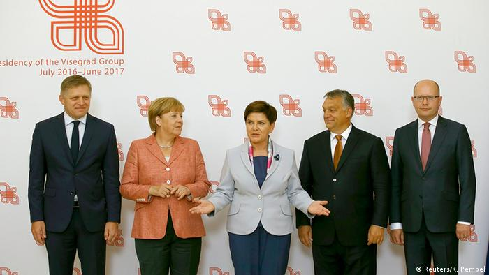 Angela Merkel with four Visegrad leaders in Warsaw