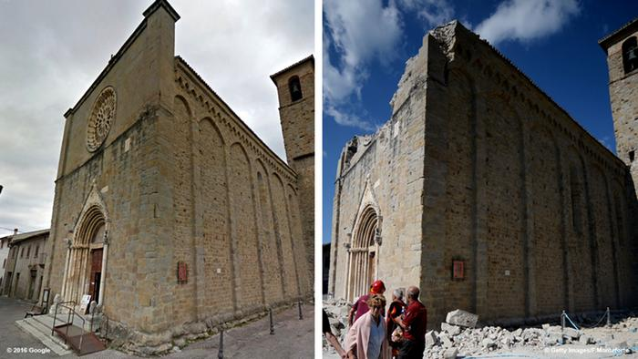 Before and after photos of a church in Amatrice, Copyright: FILIPPO MONTEFORTE/AFP/Getty Images