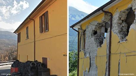 Italien Erdbeben Bildkombo Vorher Nachher