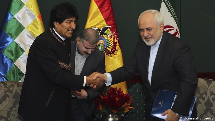 Bolivien Präsident Evo Morales und Innenminister Iran Mohamed Javad Zarif