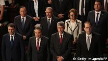 Der neue Ministerpräsident Chahed (vorne rechts) mit seinem Kabinett