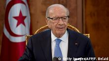 03.08.2016 +++++ Tunisian President Beji Caid Essebsi speaks during a meeting with political parties, prior to appointing Tunisia's newly appointed prime minister-delegate, at Carthage Palace in Carthage, some 15 kilometres on the outskirts of the capital Tunis, on August 3, 2016. Local affairs minister Youssef Chahed, an in-law of President Beji Caid Essebsi, was appointed the position and now has 30 days to come up with a ministerial team. Copyright: Getty Images/AFP/F. Belaid