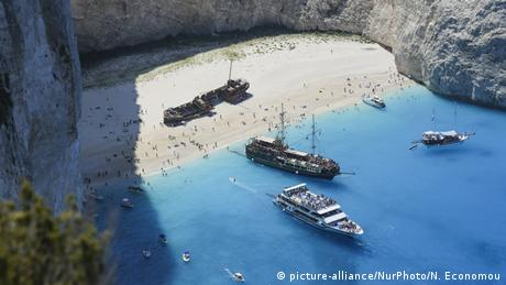 Greek beach with shipwrecks