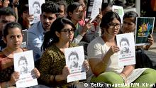 February 1, 2016. Indian college students hold placards of the deceased Hyderabad University student Rohit Vemula during a protest demonstration in Bangalore on February 1, 2016. Rohith Vemula, 26. was an Indian PhD student at the Hyderabad Central University, whose suicide on January 17 sparked protests and outrage from across India and gained widespread media attention as an alleged case of discrimination against Dalits and low status caste classes in India. AFP PHOTO/Manjunath KIRAN / AFP / MANJUNATH KIRAN (c) Getty Images/AFP/M. Kiran