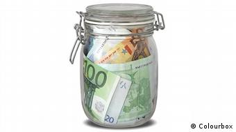 Euros in a glass jar