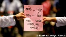 Title: A placard in a protest rally Keywords : Bangladesh, Risha, Girl, Justice, bdnews24.com, #JusticeForRisha, #justiceFor Tonu, #JusticeForAfsana (c) bdnews24.com/A. Mannan +++Nur im Rahmen der abgesprochenen Berichterstattung zu verwenden!+++