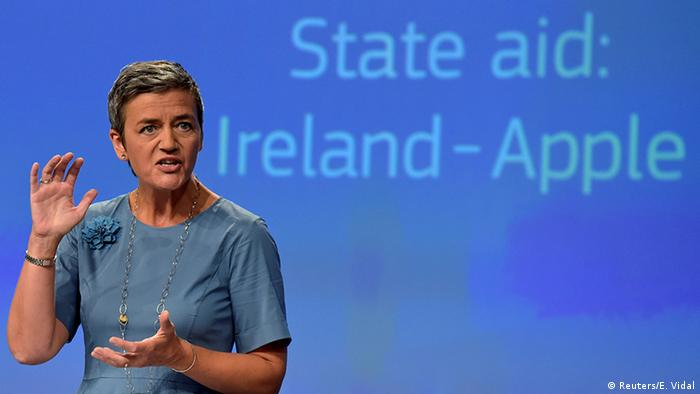 European Commissioner Margrethe Vestager gestures during a news conference on Ireland's tax dealings with Apple