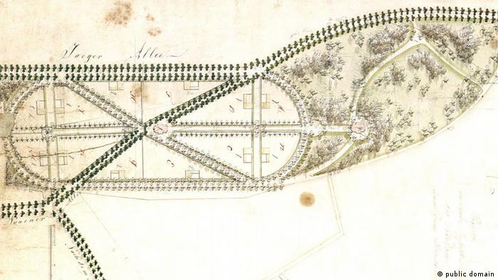 A an old plan showing space for a park and houses separated by tree-lined streets (public domain)
