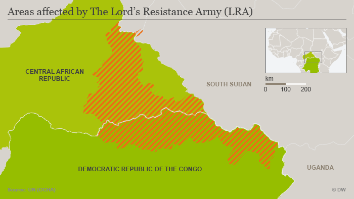 Infographic showing areas where the LRA The Lord's Resistance Army is active in Africa.