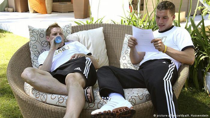 Bastian Schweinsteiger e Lukas Podolski na concentração, durante a Copa de 2006