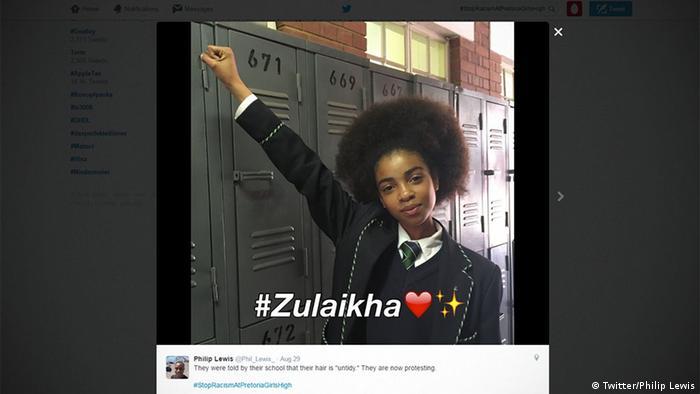 Screenshot Twitter Pretoria schoolgirl Protest Afro