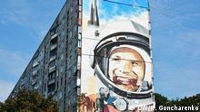 August 2016 Gagarin-Bild auf einem Plattenbau in Charkiw, Ukraine (c) DW/R. Goncharenko