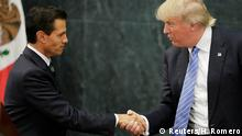 August 31, 2016+++++++++U.S. presidential nominee Trump and Mexico's President Pena Nieto shake hands in Mexico City U.S. Republican presidential nominee Donald Trump and Mexico's President Enrique Pena Nieto shake hands at a press conference at the Los Pinos residence in Mexico City, Mexico, August 31, 2016. REUTERS/Henry Romero (c) Reuters/H. Romero
