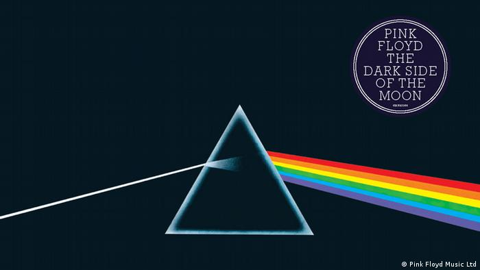 Pink Floyd - Dark Side of the Moon Cover with a prism on a black background (Pink Floyd Music Ltd)