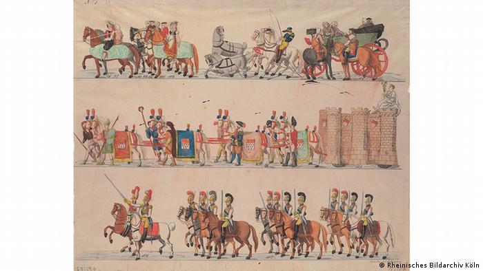 Jodocus Schlappal's illustration of a Carnival parad from 1825, Copyright: Kölnisches Stadtmuseum. Foto: Rheinisches Bildarchiv Köln