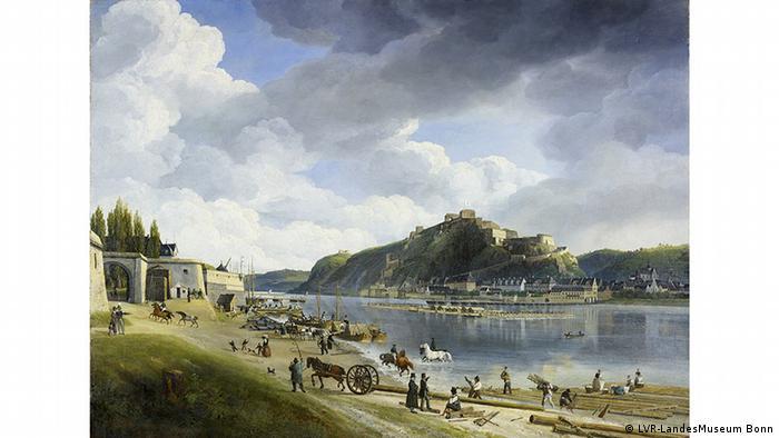 Johann Adolf Lasinsky, Der Rhein bei Koblenz-Ehrenbreitstein, 1828, Copyright: LVR-LandesMuseum Bonn